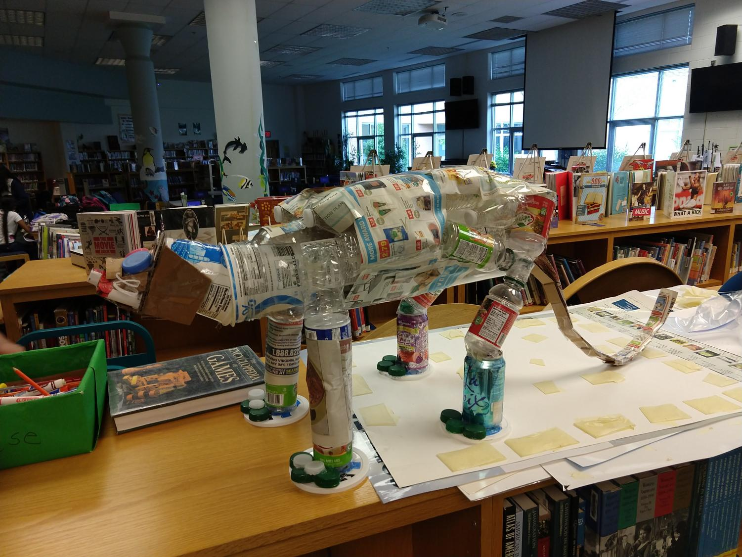 The Going Green club's panther mascot, created from a variety of recyclable materials.