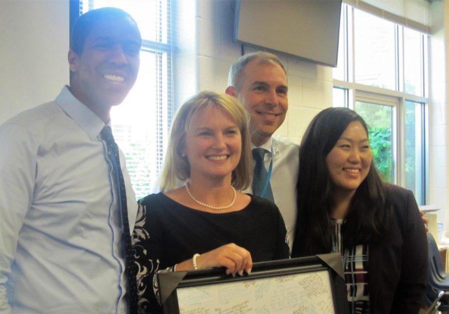 Staff+honor+Ms.+Kirkpatrick+during+her+last+week+at+Rachel+Carson.
