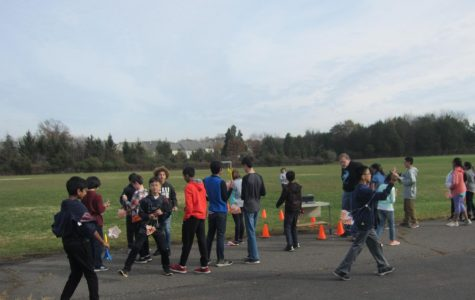 Fourth Period TechEd Kids launching rocket on Rachel Carson Middle School Field.
