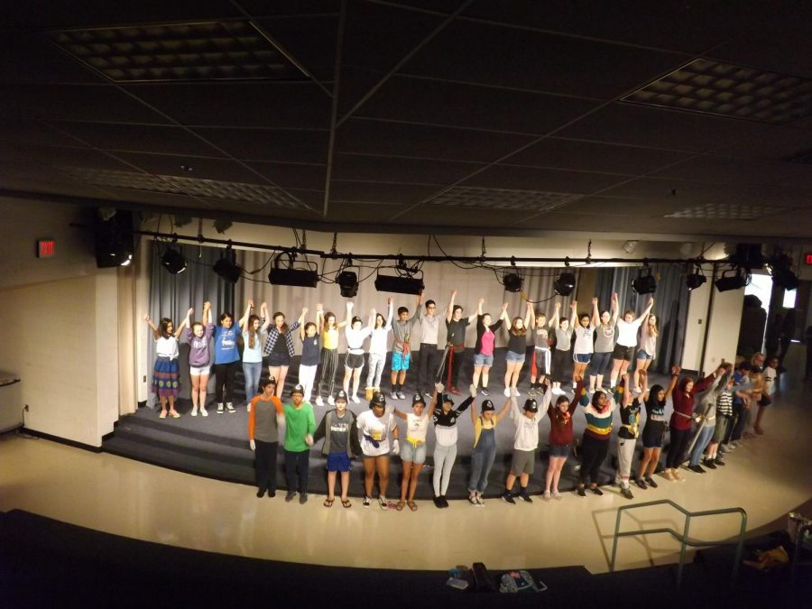 Entire cast bowing at the end of rehearsal.
