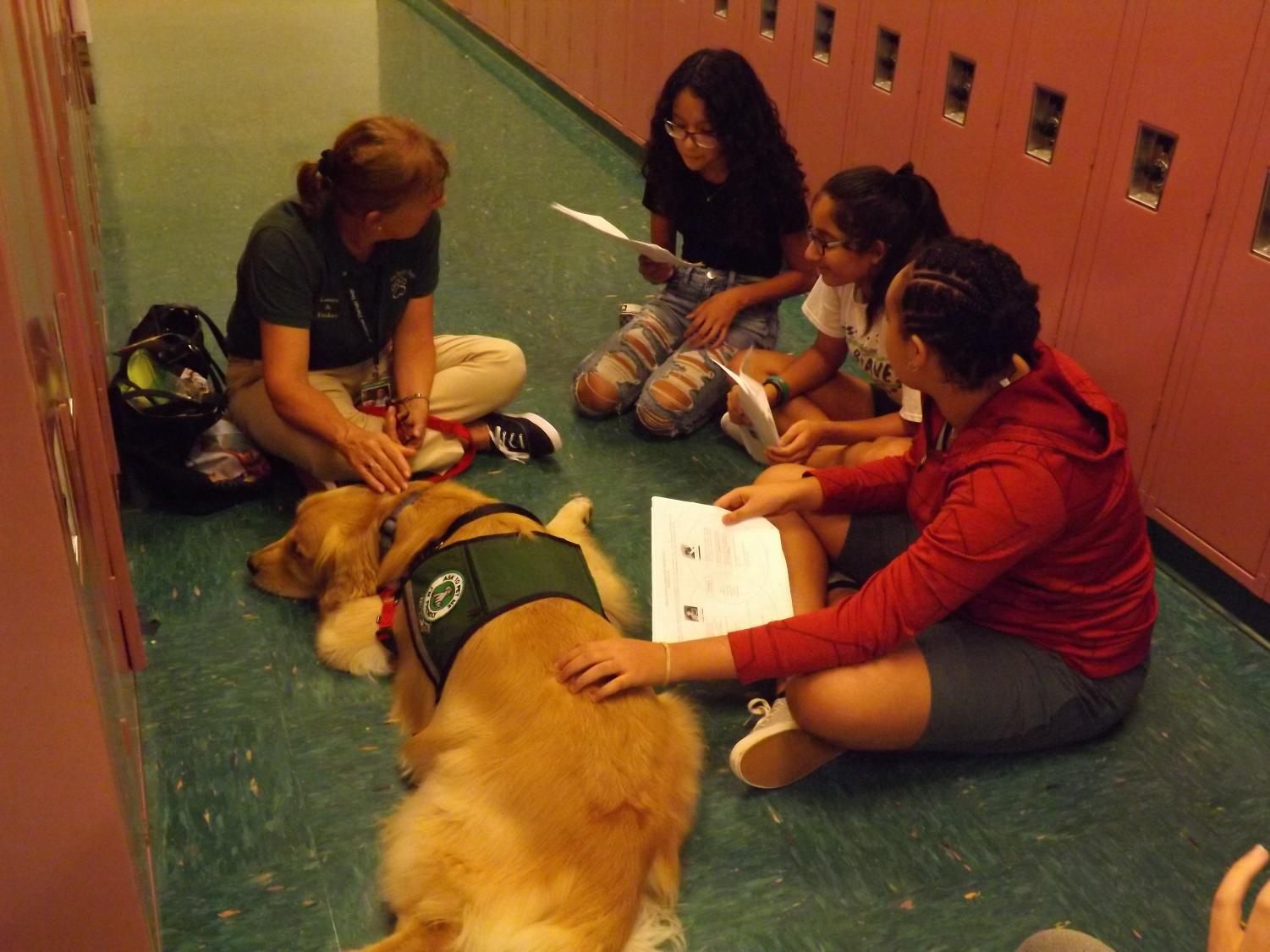 Tucker, the therapy dog, get's students from Mrs. Isoldi's history class read to him on Oct. 3, during his visit in Rachel Carson Middle School.
