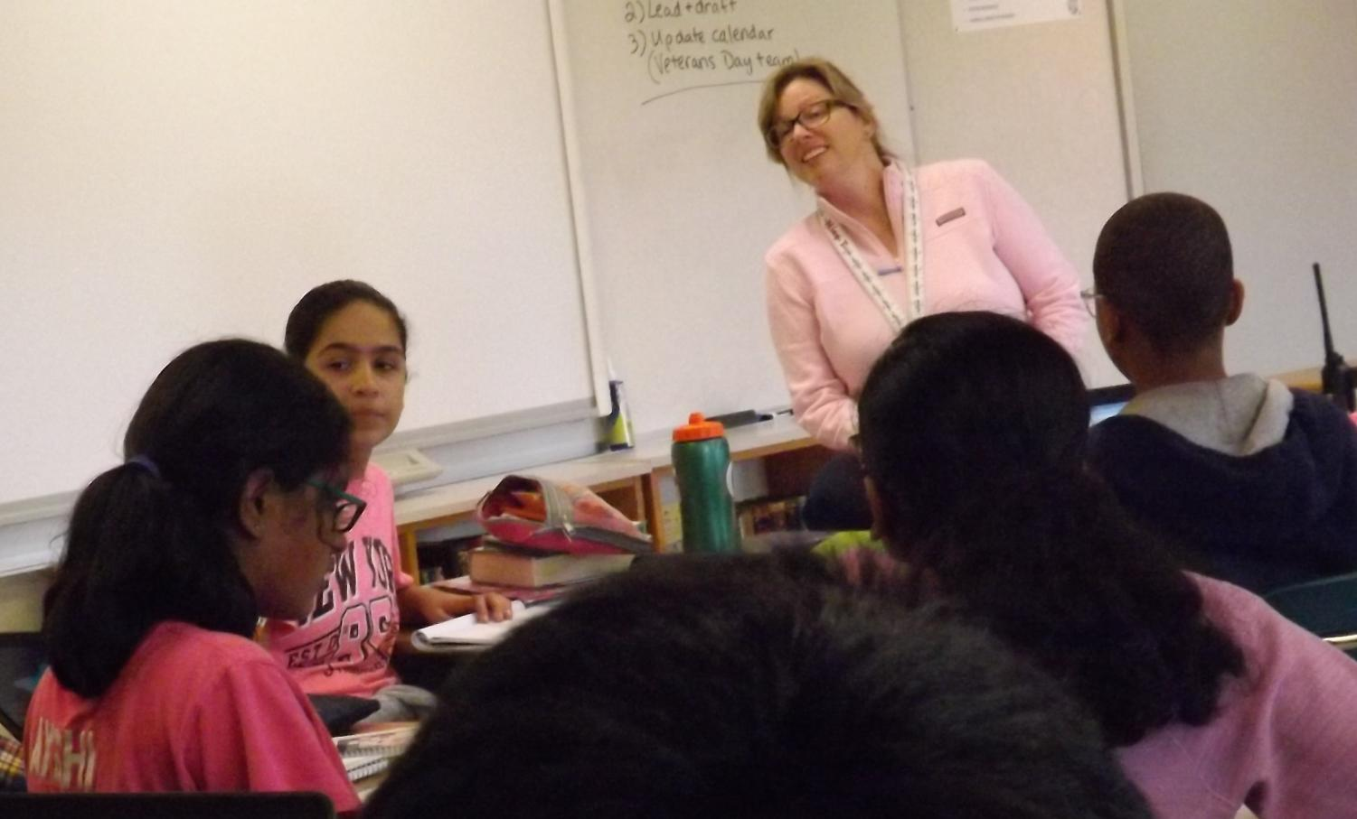 New assistant principal Ms. Melissa Tochterman explains her experiences to RCMS students.