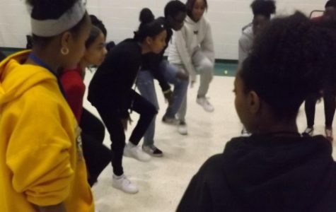 Step team practicing for upcoming performances.