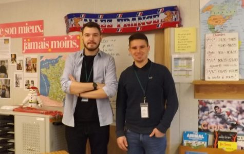 French interns Nathan Crapet and Aurélien Jarlier are spending a month at RCMS to learn about American teaching methods before they return home to become teachers in France.