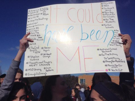 Students protest gun violence in 2018 outside Rachel Carson Middle School.
