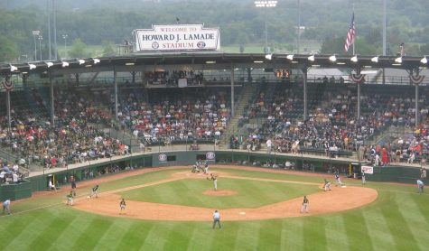 A game being played at the 2007 Little League World Series, a huge annual youth sporting event in the Williamsport, Pennsylvania.
