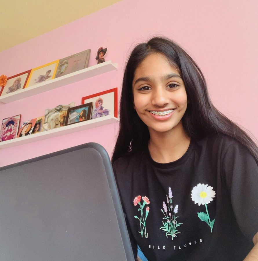 Seventh-grader Simone Shah studies online and wonders what in-person school will be like with a pandemic.
