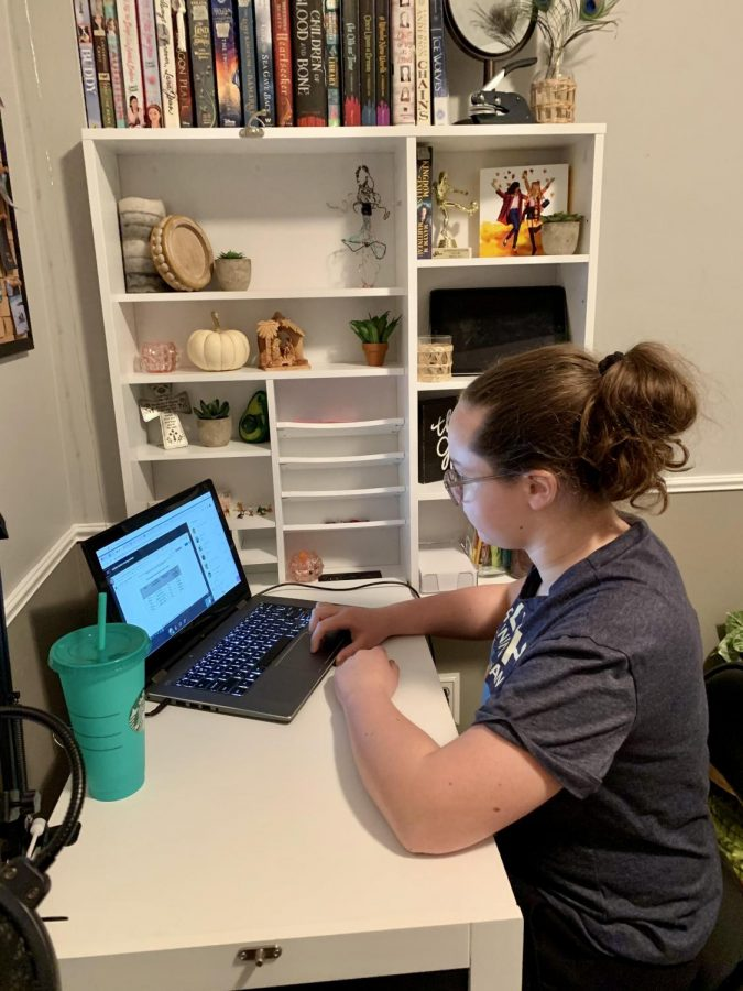 Grace Gibbens, seventh grader at RCMS, is attending her Panther Time class while taking notes. Grace is enjoying meeting new people and seeing new faces but can