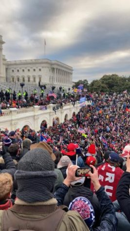 Pro-Trump rioters gather around the U.S. Capitol building on Jan. 6, 2021.