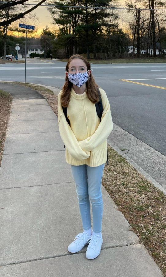 Seventh-grader Emily Lasure poses for a first day of school picture.