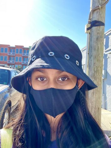 Tanishka Gandhi, an eighth-grader from RCMS, outside during COVID.