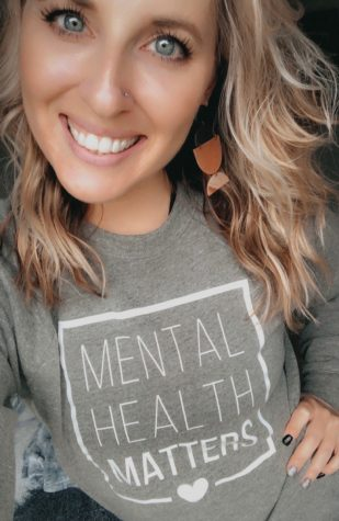 Seventh-grade English teacher Ms. Amy Allen promotes the importance of Mental Health through her clothes.