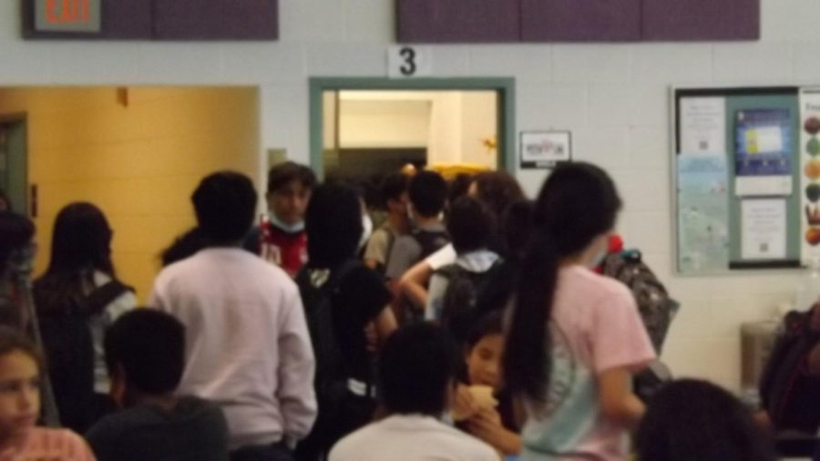 Students wait to buy lunch.