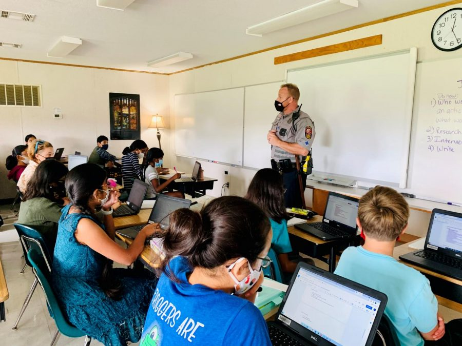 Vandalism is a criminal act — destruction of property, said Officer Matt Griffin, the student resource officer, speaking to Journalism students Sept. 17. He said depending on the value of the damage, under Virginia law, vandalism can qualify as either a misdemeanor or a felony.